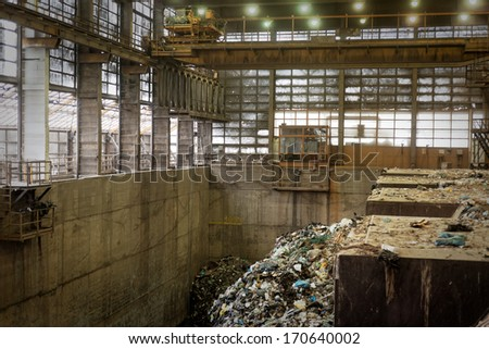 Waste processing plant interior - stock photo