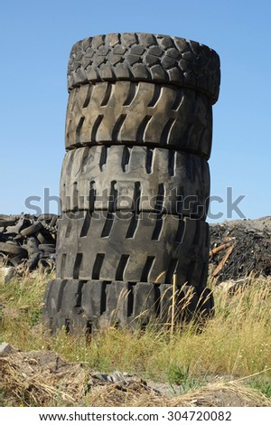 waste tires tower - stock photo