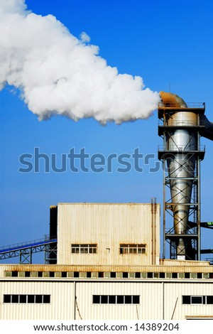 Waste vapor from factory chimney