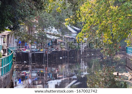 waste water canal - stock photo