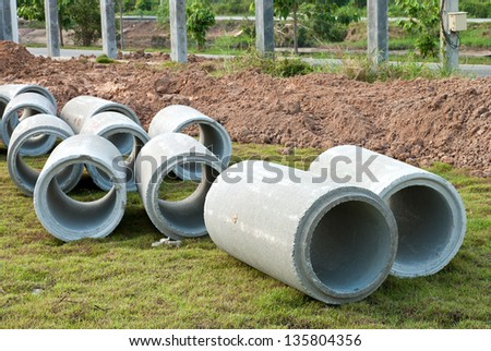 Waste water drain pipe construction - stock photo
