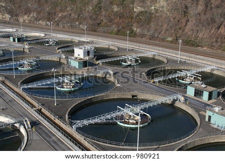 Waste water treatment facility. - stock photo