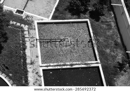 waste water treatment process on hospital top views black and white filter - stock photo