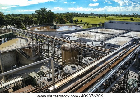 Waste water treatment, purification plant - stock photo
