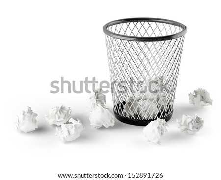 wastepaper basket isolated on white background. 3d rendered image - stock photo