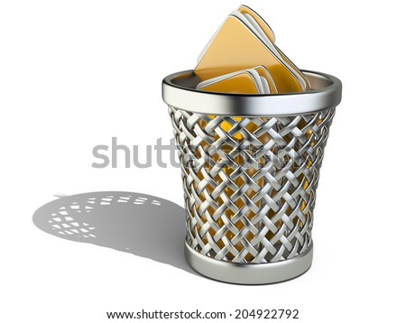 Wastepaper basket with folders isolated on white background. 3d rendering illustration - stock photo