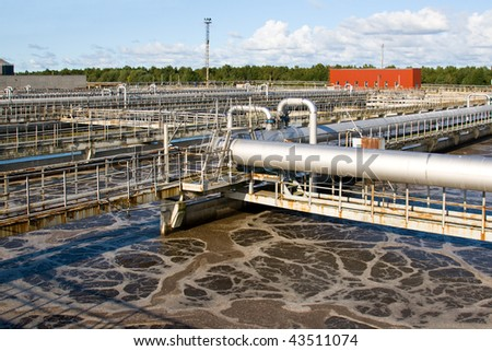 Wastewater aeration basins - stock photo