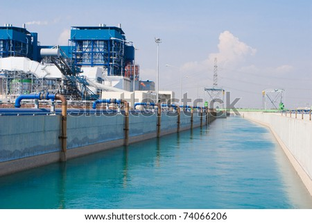 Wastewater treatment in the petrochemical site - stock photo