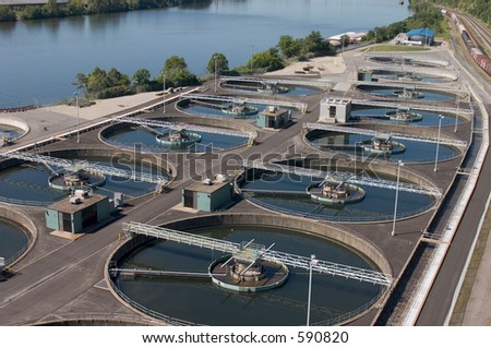 Wastewater treatment plant. - stock photo