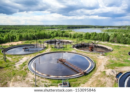 Wastewater treatment plant for remove biological or chemical waste products from water - stock photo