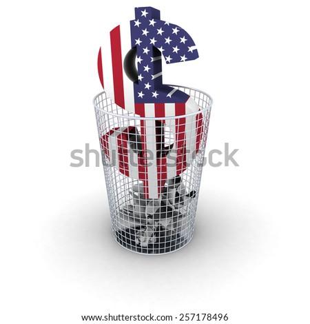 Wasting Money Concept - US Flag Dollar Symbol in Bin - stock photo