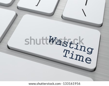 Wasting Time. Button on Modern Computer Keyboard with Word Partners on It. - stock photo