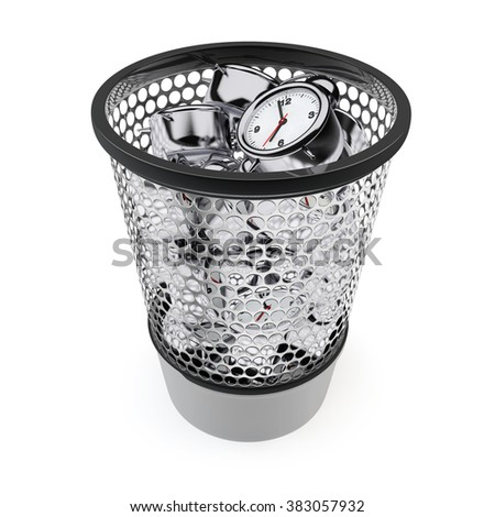 Wasting Time Concept. Alarm Clocks in the Trash Bin on a white background - stock photo