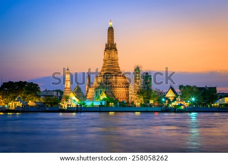 Wat Arun at  twilight in Bangkok, Thailand - stock photo