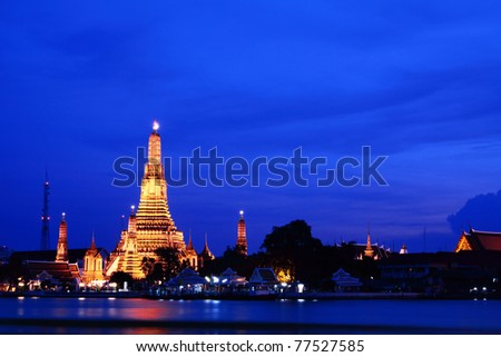 Wat Arun at twilight, the Old Temple of Bangkok, Thailand - stock photo