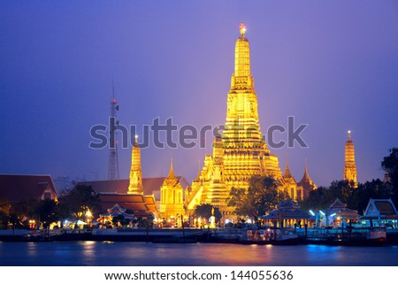 Wat Arun in Bangkok at night - stock photo