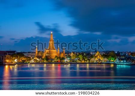 Wat Arun in Twilight Time - stock photo