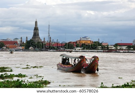 Wat Arun on Chao Phraya River,Bangkok Thailand - stock photo