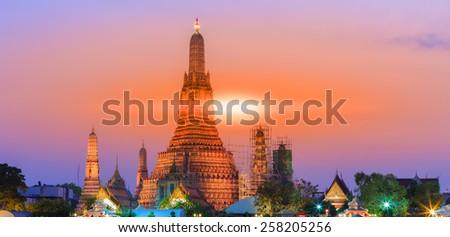 Wat Arun Rajwararam Temple of the dawn in bangkok thailand - stock photo