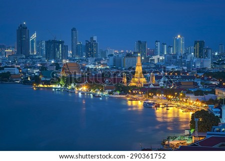 Wat arun ,temple at twilight, bangkok, Thailand temple - stock photo