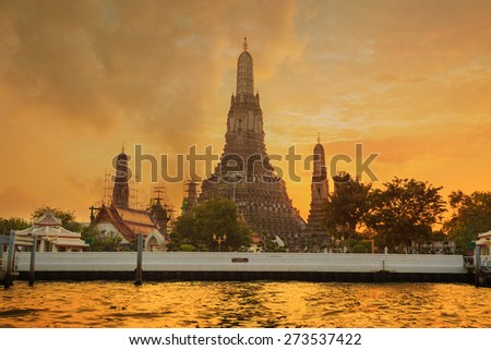 Wat Arun Temple in bangkok Thailand at sunset. - stock photo