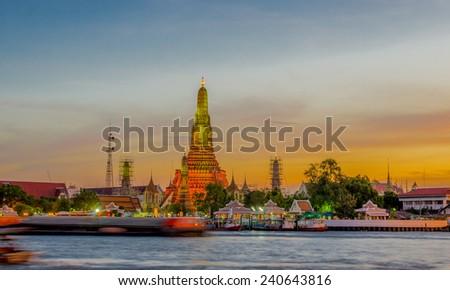 Wat Arun Temple in bangkok thailand. In sunset time - stock photo