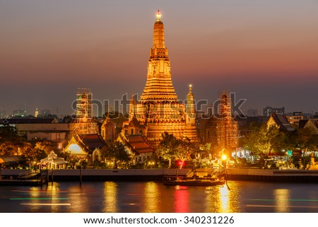 Wat Arun Temple in twilight time at bangkok thailand - stock photo