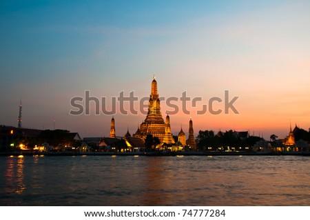 Wat Arun Temple night  in thailand - stock photo