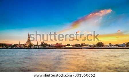 Wat Arun - the Temple of Dawn in Bangkok, Thailand   - stock photo