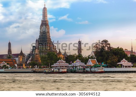Wat Arun -the Temple of Dawn in Bangkok, Thailand  - stock photo