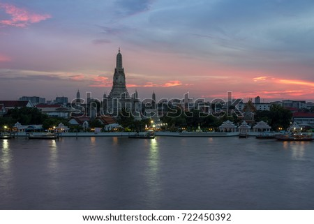 Wat Arun -The Temple of Dawn in Bangkok, Thailand in the sunset mode