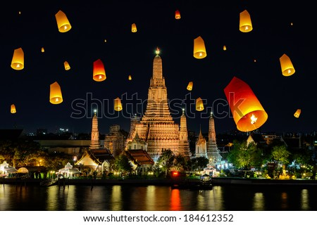 Wat arun under loy krathong day ,Thailand - stock photo