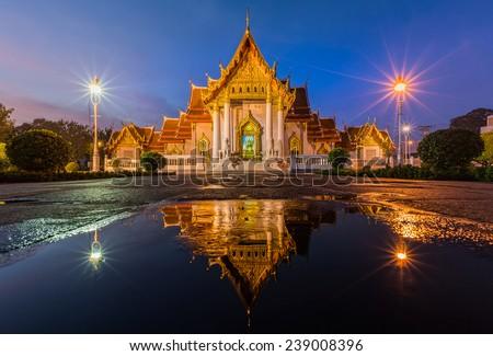 Wat Benjamaborphit or Marble Temple at twilight in Bangkok - stock photo