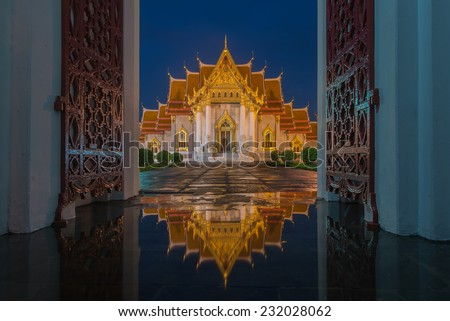 Wat Benjamaborphit or Marble Temple at twilight in Bangkok, Thai Wat Benjamaborphit or Marble Temple at twilight in Bangkok, Thai Wat Benjamaborphit or Marble Temple at twilight in Bangkok,Thailand  - stock photo
