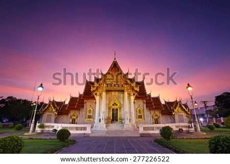 Wat Benjamaborphit or Marble temple at twilight in Bangkok, Thailand - stock photo