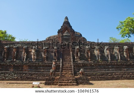Wat chang-Rob ,Khamphangphet the north of Thailand. - stock photo
