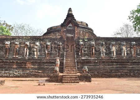 Wat chang rob ,Sukhothai art around the age of 700 years,Kamphaeng Phet Northern Thailand.