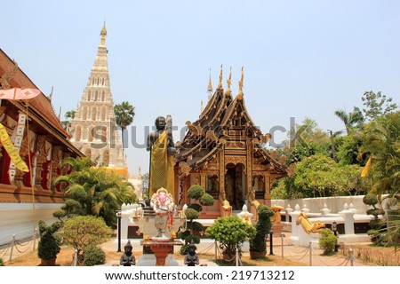 Wat Chedi Liam or Wat Ku Kham, one of the ancient Thai temples of Wiang Kum Kam in Chiangmai, Thailand  - stock photo