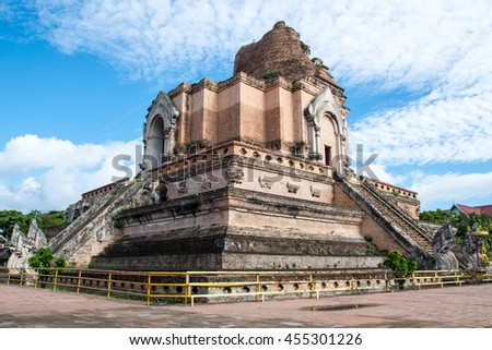 Wat Chedi Luang the landmark of Chiang Mai  Thailand