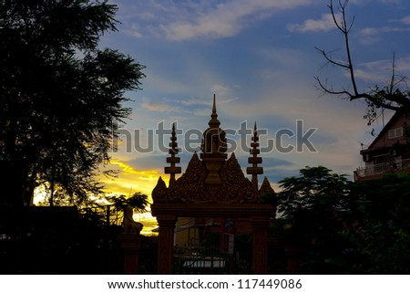 Wat Dam Nak Sunset,siem reap ,Cambodia - stock photo