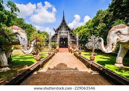 Wat Lok Molee, Old wooden temple in Chiang Mai, Thailand.  - stock photo