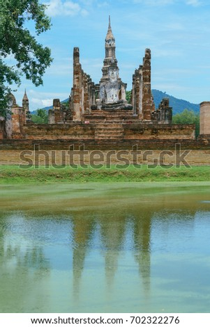 Wat Mahathat (Ancient Buddhist Temple) in Sukhothai Historical Park, Sukhothai, Thailand. This is World Heritage Site by UNESCO.