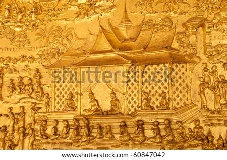 Wat Mai temple wall texture close up, Luangprabang,Laos - stock photo