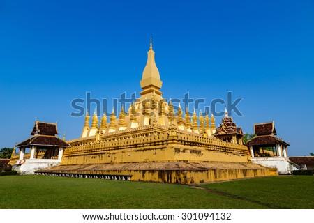 Wat pha tat luang stupa in Vientiane ,Laos - stock photo