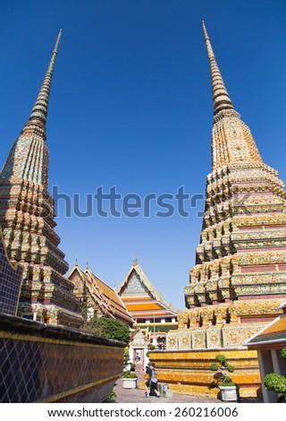 Wat Pho is the beautiful temple in Bangkok. - stock photo