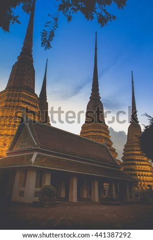 Wat Pho Temple in Bangkok, Thailand.This is an important buddhist temple of thailand and a famous tourist destination. - stock photo