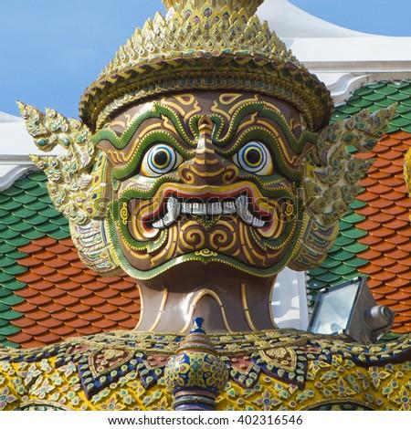 Wat Phra Geaw - Detail of guardian giant. - stock photo