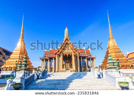 Wat Phra Kaeo, Temple of the Emerald Buddha Bangkok, Asia Thailand,They are public domain or treasure of Buddhism, no restrict in copy or use  - stock photo