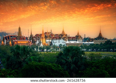 Wat Phra Kaew at sunset in bangkok, Thailand - stock photo