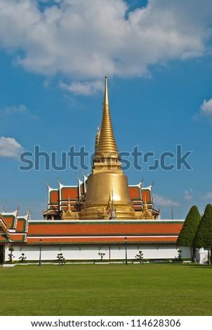 wat phra Kaew,grand palace in bangkok,  ancient temple of thailand - stock photo